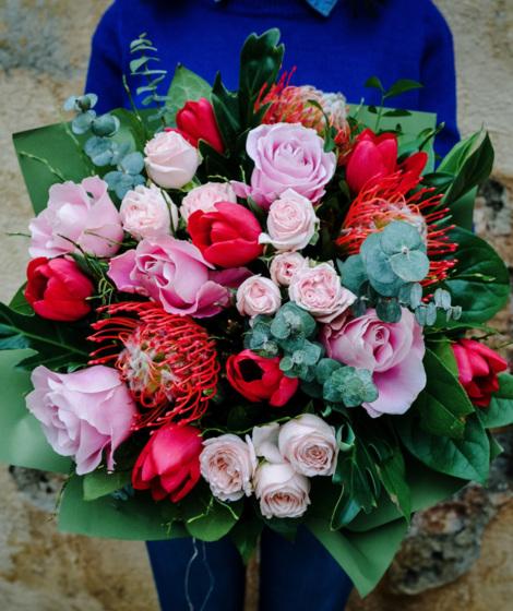 Buchet rosu si roz